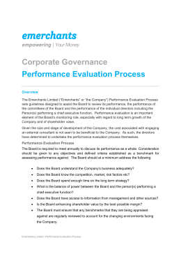 Corporate Governance Performance Evaluation Process