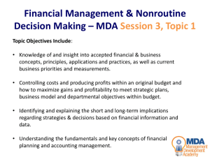 Financial Management & Nonroutine Decision Making – MDA
