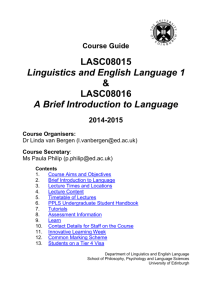 Course Guide - Linguistics and English Language