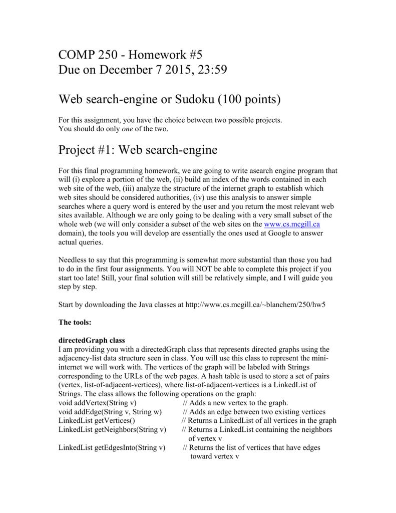 COMP 250 - Homework #5 Due on December 7 2015, 23:59 Web
