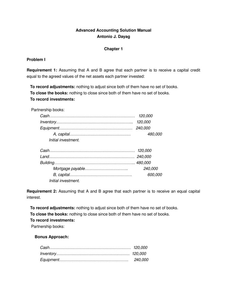 advanced accounting solution manual antonio j dayag chapter 1 rh studylib  net solution manual for advanced accounting by ...