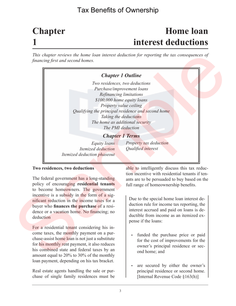 Home loan interest deductions Chapter 1