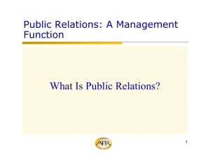 Public Relations: A Management Function