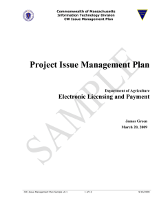 Project Issue Management Plan
