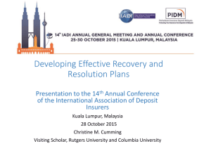 Developing Effective Recovery and Resolution Plans
