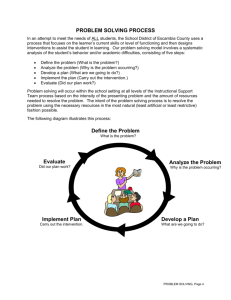 Problem Solving Process - Exceptional Student Education