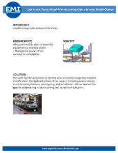 Case Study: Toyota Motor Manufacturing Camry Exterior Model