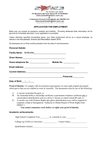 APPLICATION FOR EMPLOYMENT Personal Details: Family Name