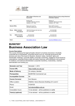 BUSN7057 Business Association Law