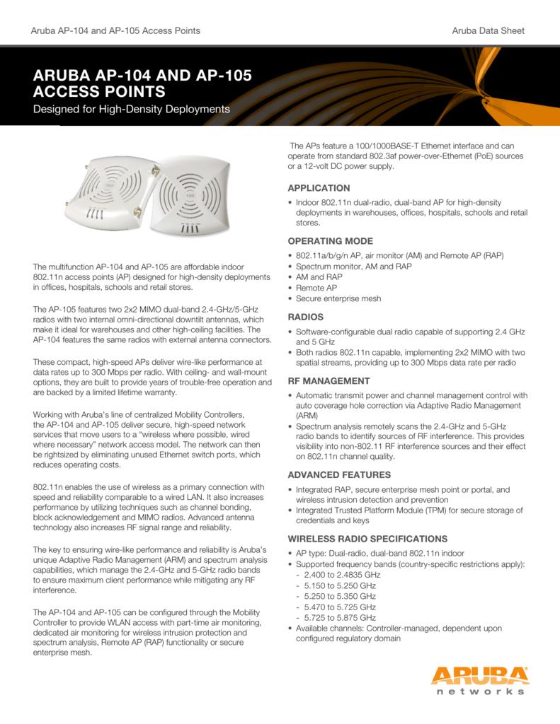 aruba ap-104 and ap-105 access points