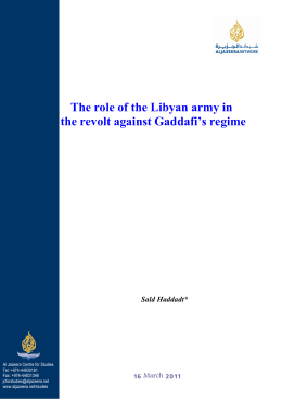 The role of the Libyan army in the revolt against Gaddafi's regime
