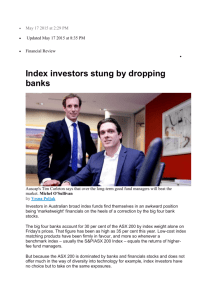 Index investors stung by dropping banks