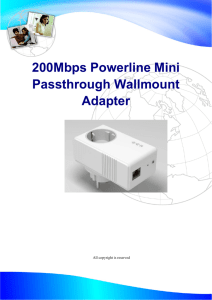 200Mbps Powerline Mini Passthrough Wallmount Adapter