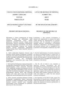 Law No. 7 of 2014 on Trade - Indonesian Law and Regulation