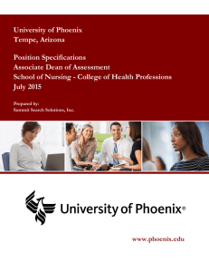 University of Phoenix Tempe, Arizona Position Specifications