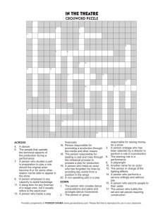 In the Theatre Crossword Puzzle