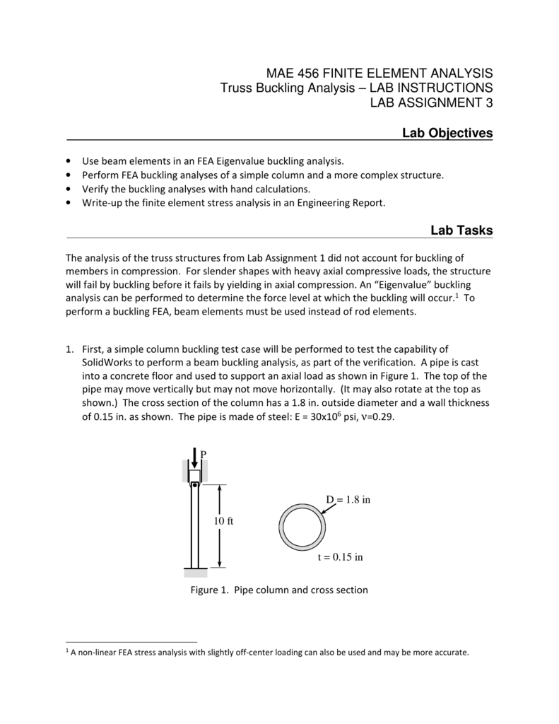 MAE 456 FINITE ELEMENT ANALYSIS Truss Buckling Analysis