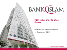 Risk Issues for Islamic Banks