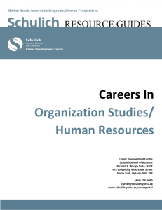 Careers In Organization Studies/ Human Resources