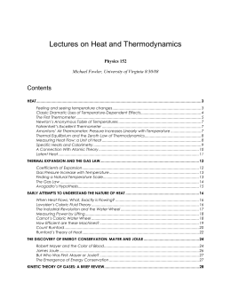 Lectures on Heat and Thermodynamics - Galileo