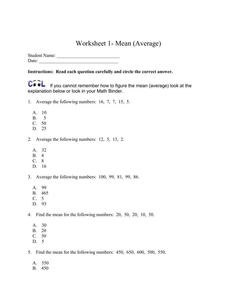 Worksheet 1- Mean (Average)