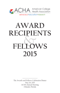 award recipients fellows 2015 - American College Health Association