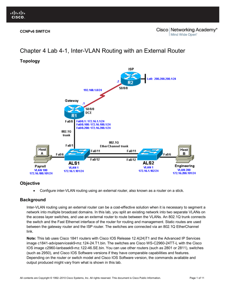 Chapter 4 Lab 1 Inter Vlan Routing With An External Router Cisco Switch Diagram