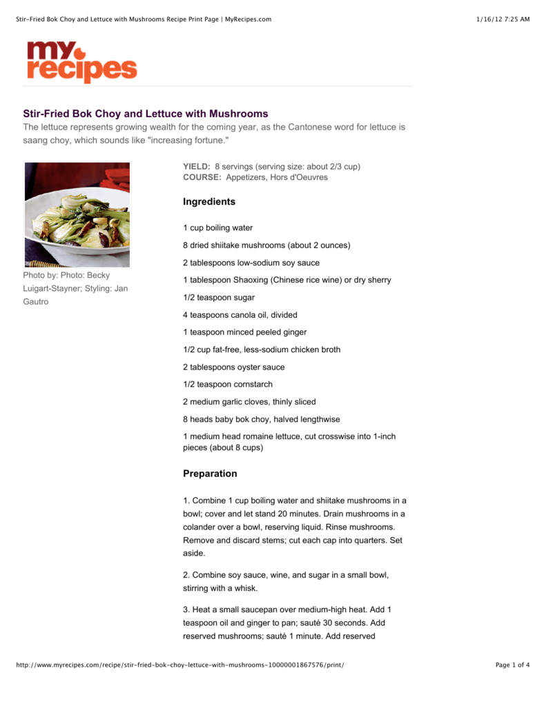 Stir Fried Bok Choy, Lettuce and Mushrooms