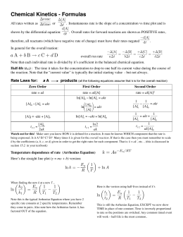 Kinetics formulas copy