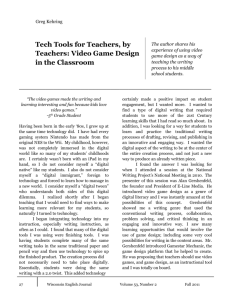 Tech Tools for Teachers, by Teachers: Video Game Design in the