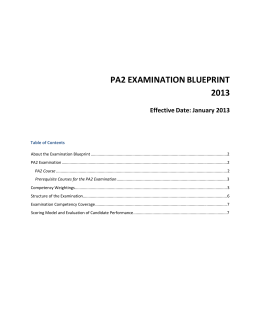 CGA-Canada PA2 Examination Blueprint