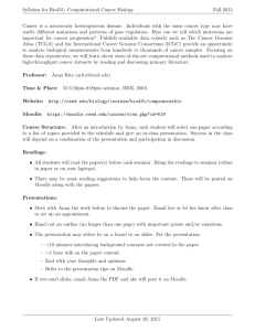 Syllabus for Bio431: Computational Cancer Biology Fall 2015