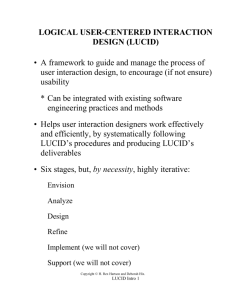 LOGICAL USER-CENTERED INTERACTION DESIGN (LUCID) • A