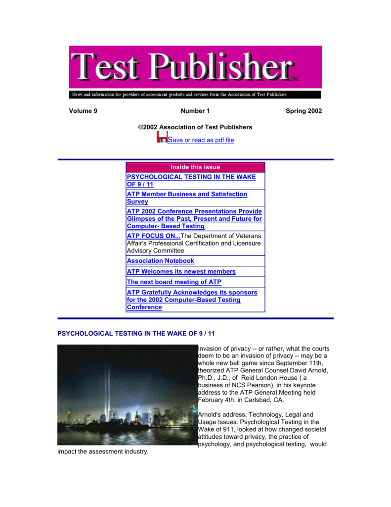 Test Publisher Spring 2002 - Association of Test Publishers
