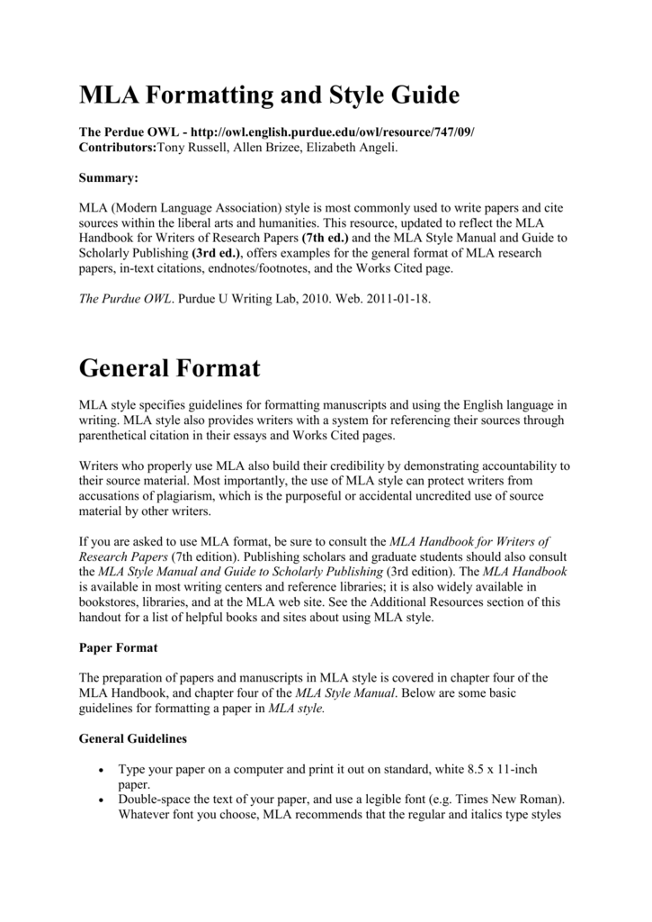 mla formatting and style guide general format