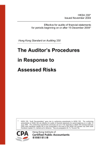 HKSA 330 The Auditor's Procedures in Response to Assessed Risks