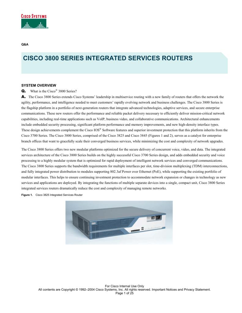 IOS /& 1GB//256F CISCO3825 Cisco 3825 Integrated Services Router w// Adv