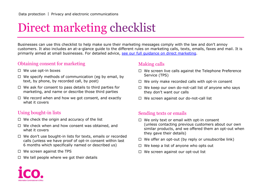 Direct marketing checklists