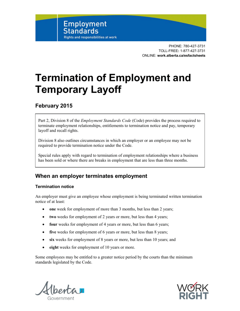 termination letter template alberta termination of employment and temporary layoff 17351 | 008391309 1 eb8c5396672f91146474be630ec3fa33