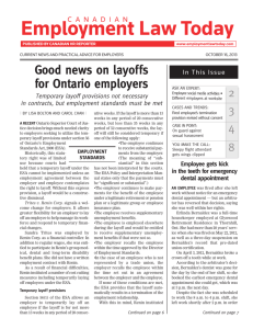 Good news on layoffs for Ontario employers
