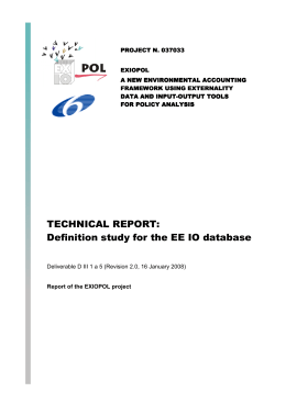 TECHNICAL REPORT: Definition study for the EE IO database