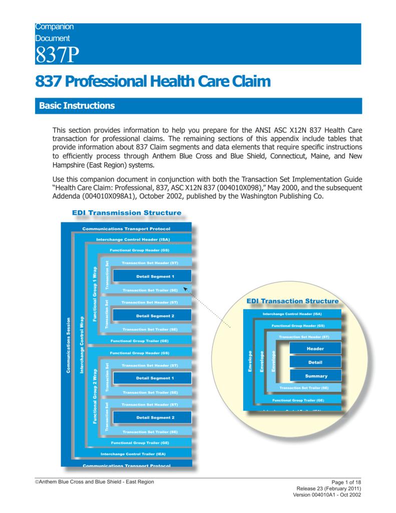 837 Professional Health Care Claim