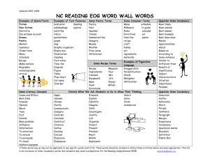NC READING EOG WORD WALL WORDS