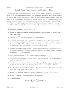 Sample Final Exam Questions (Mandatory Part)