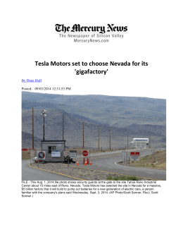 Tesla Motors set to choose Nevada for its
