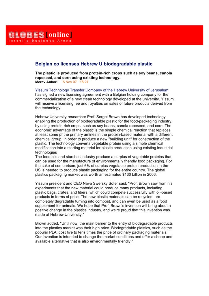 Belgian co licenses Hebrew U biodegradable plastic