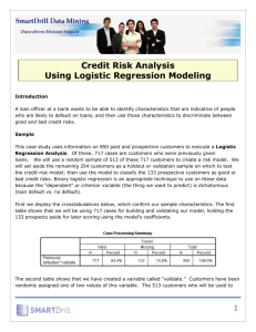 1 Credit Risk Analysis Using Logistic Regression Modeling