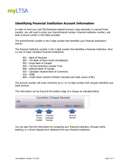 Identifying Financial Institution Account Information