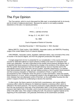 The Frye Opinion