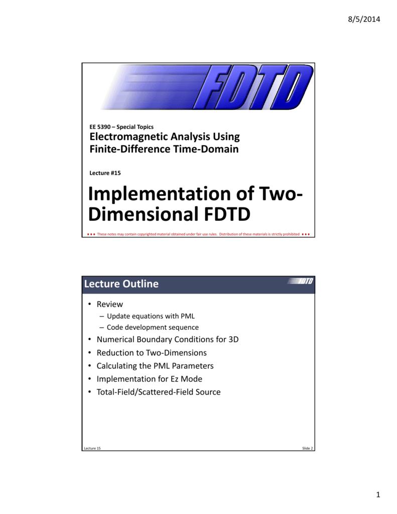 Implementation of 2D FDTD